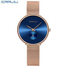 CRRJU, женские часы, Топ бренд, роскошные женские часы с сетчатым ремешком, ультра-тонкие часы, нержавеющая сталь, водонепроницаемые часы, квар...(Китай)