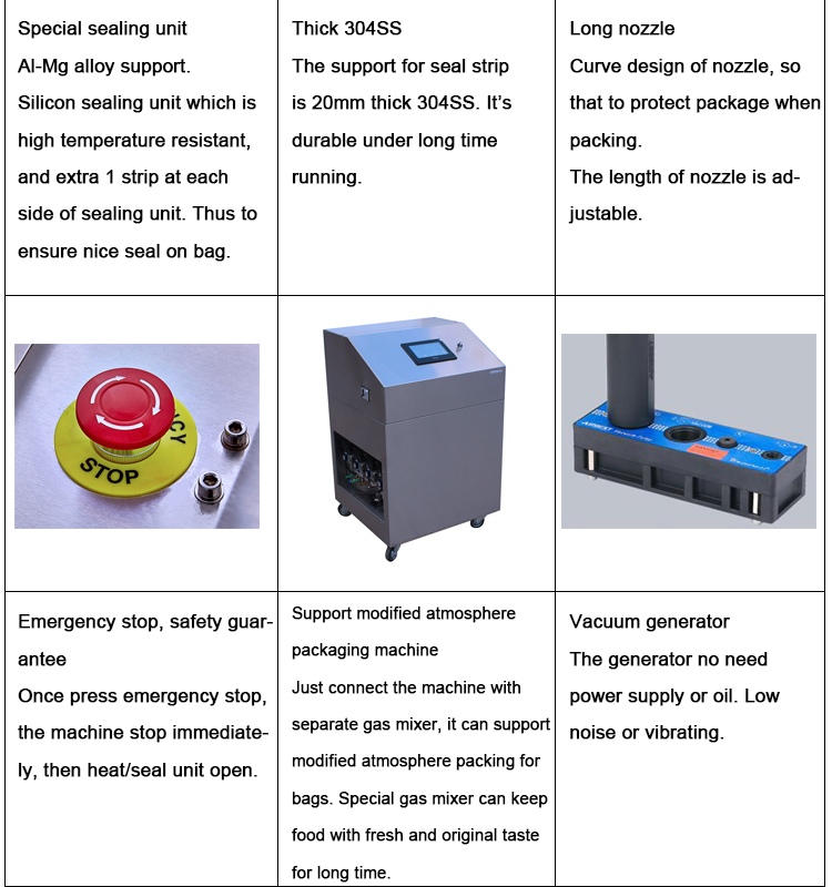 table top vacuum sealer packing machine, 3 in 1 external vacuum packaging machine with nitrogen gas filling
