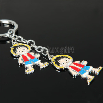 Customized Professional Good price of enamel anime One Piece keychain