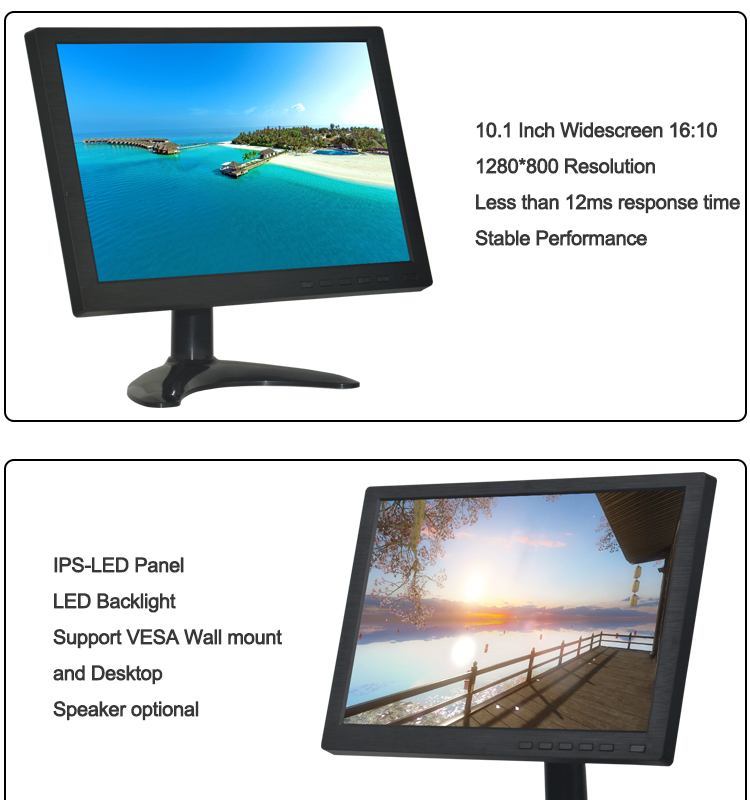 10.1 Inch Widescreen LCD CCTV Monitor HDMIED Video Display for HD Color Screen Display