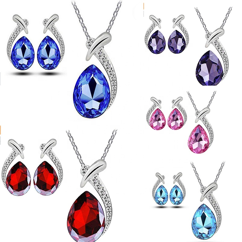 V&R Women Shiny Crystal Rhinestone Silver Plated Pendent Chain Necklace Stud Earring Costume Fashion Jewelry Set