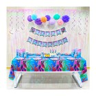 Mermaid Birthday Party Supplies Happy Birthday Banner Disposable Plates Table Cloth Baby Shower Decoration