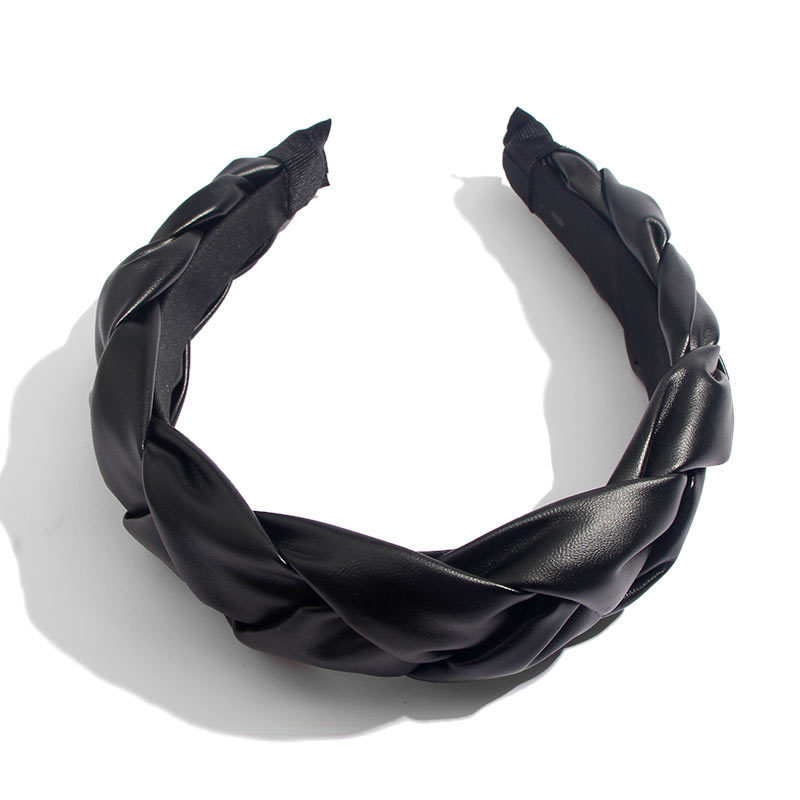 New Bohemian Black Leather PU Headband Jewelry for Women Wedding Wide Headbands Girl Hair Accessories