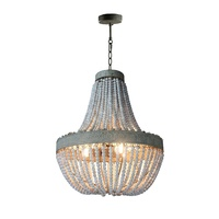 Meerosee Vintage Pendant Lamp Retro Country Style Loft Round Wooden Beaded Chandeliers MD86029
