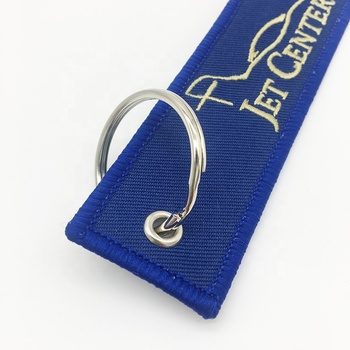 Newest wholesale cloth key tag, Custom brand logo embroidery keychains for promotion