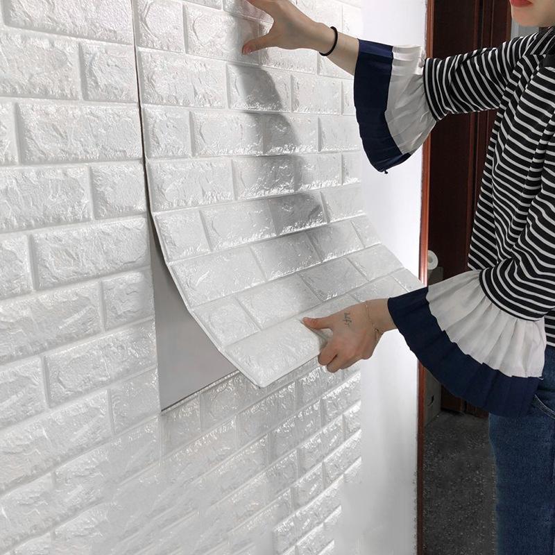 वॉलपेपर स्वयं चिपकने वाला फोम ईंट वॉलपेपर थोक घर की सजावट गर्म रंग 3d वॉलपेपर