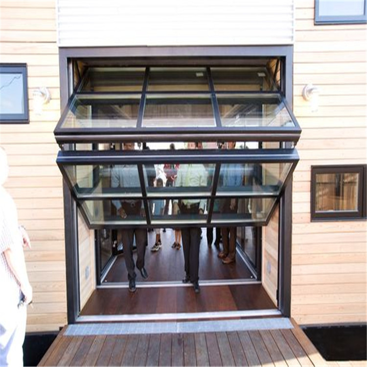 Aluminum sliding folding glass window frameless fold up windows