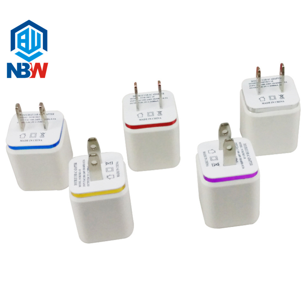 Factory Price 2.1A Dual Port USB Cube Power Adapter EU US Plug USB Wall Charger