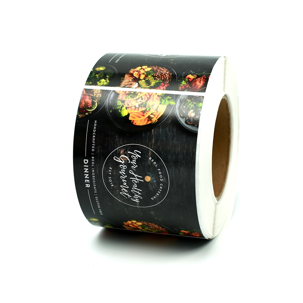 adhesive logo printing eco friendly biodegradable etiketten custom stickers black square labels for food containers