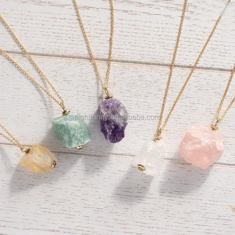 clear dainty quartz crystal necklace gold raw rose quartz pendant necklace Long dainty rose quartz crystal necklace gold