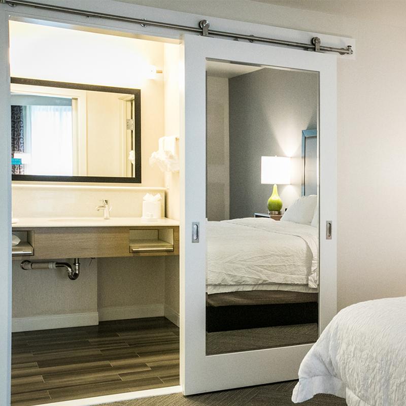 White Sliding Mirror Barn Door Kit For Hotel Bathroom And