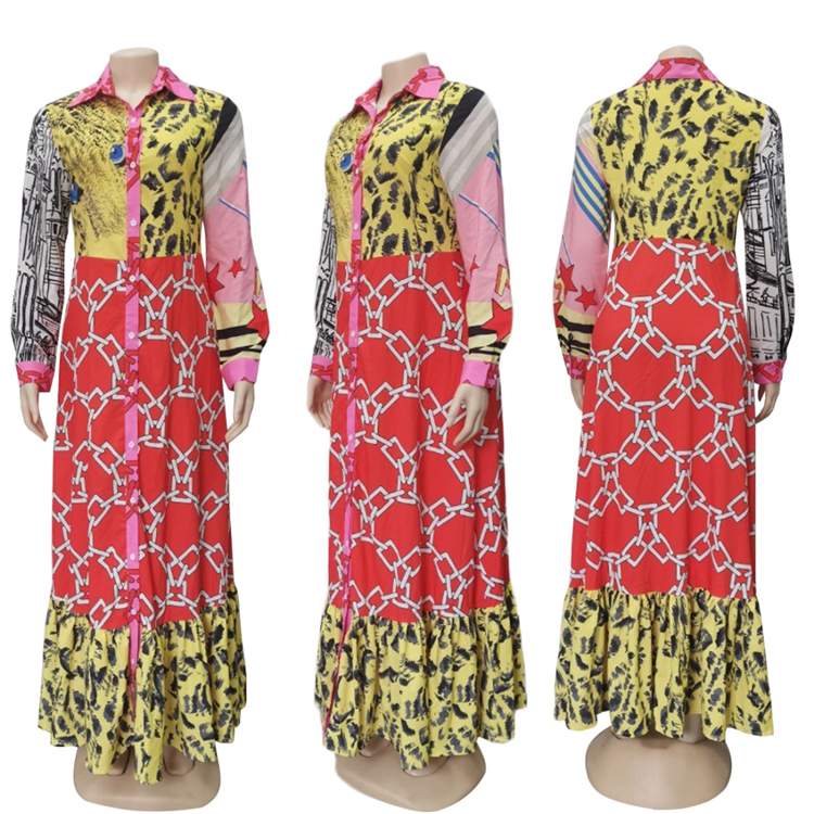 Wholesale African Clothing African Kitenge Dress Designs Long Sleeve Maxi Dress