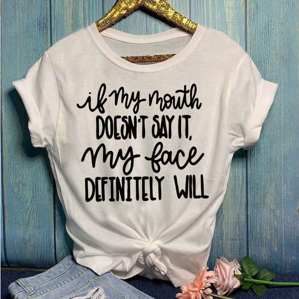 New Fashion Casual Solid Colors Alphabet Print Short Sleeve T-shirt