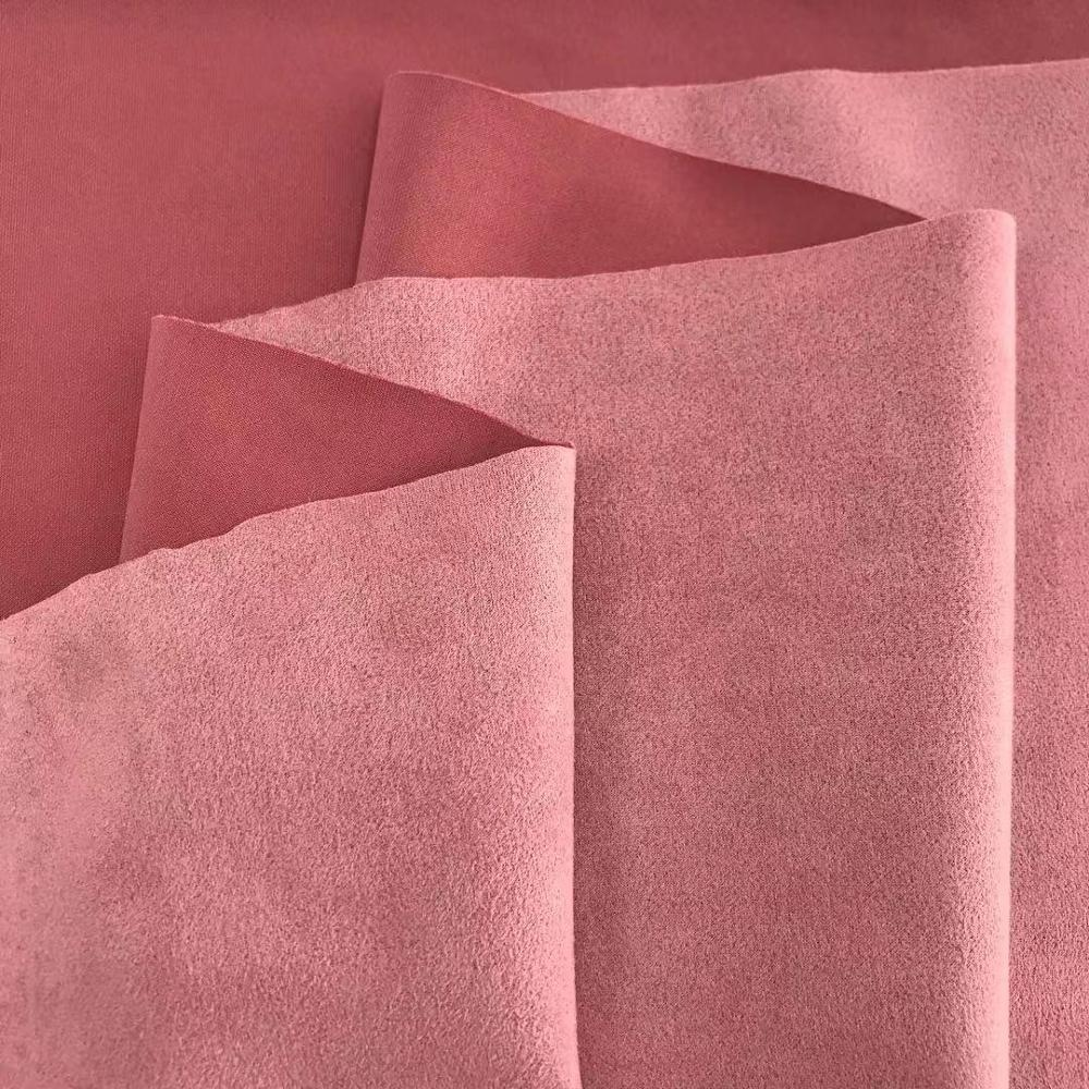Wholesale Fabrics Suppliers Polyester Spandex Microfiber Brushed Knitted Suede Fabric For Garment Upholstery