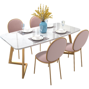 Modern room furniture square rectangle restaurant dining table nordic design marble tempered glass  MDF tabletop