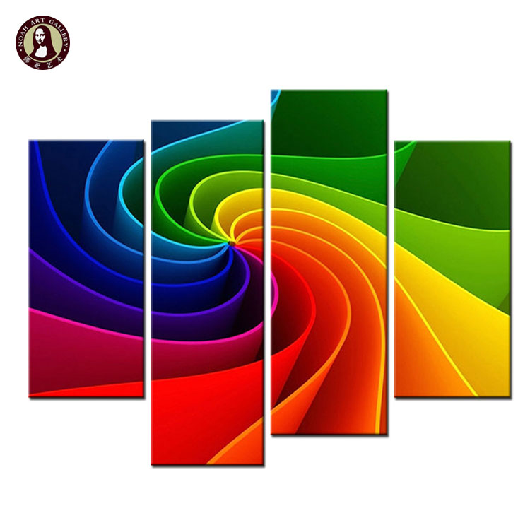 Contemporary Giclee Print 4 Panel Canvas Artwork Custom Bright Color <strong>Picture</strong> Uv Canvas Art Print Service