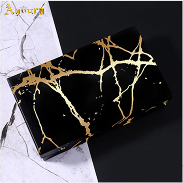 Custom logo marble gilded rectangular gift  packing