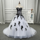 BacklakeGirls BW82302 Sweetheart Sleeveless A Line Black White Wedding Dresses
