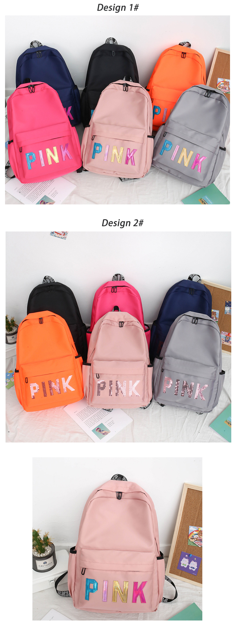 Osgoodway2 The Newest Multi Colors Funky Girls Backpack Waterproof Glitter Letter Backpack Women School Bags