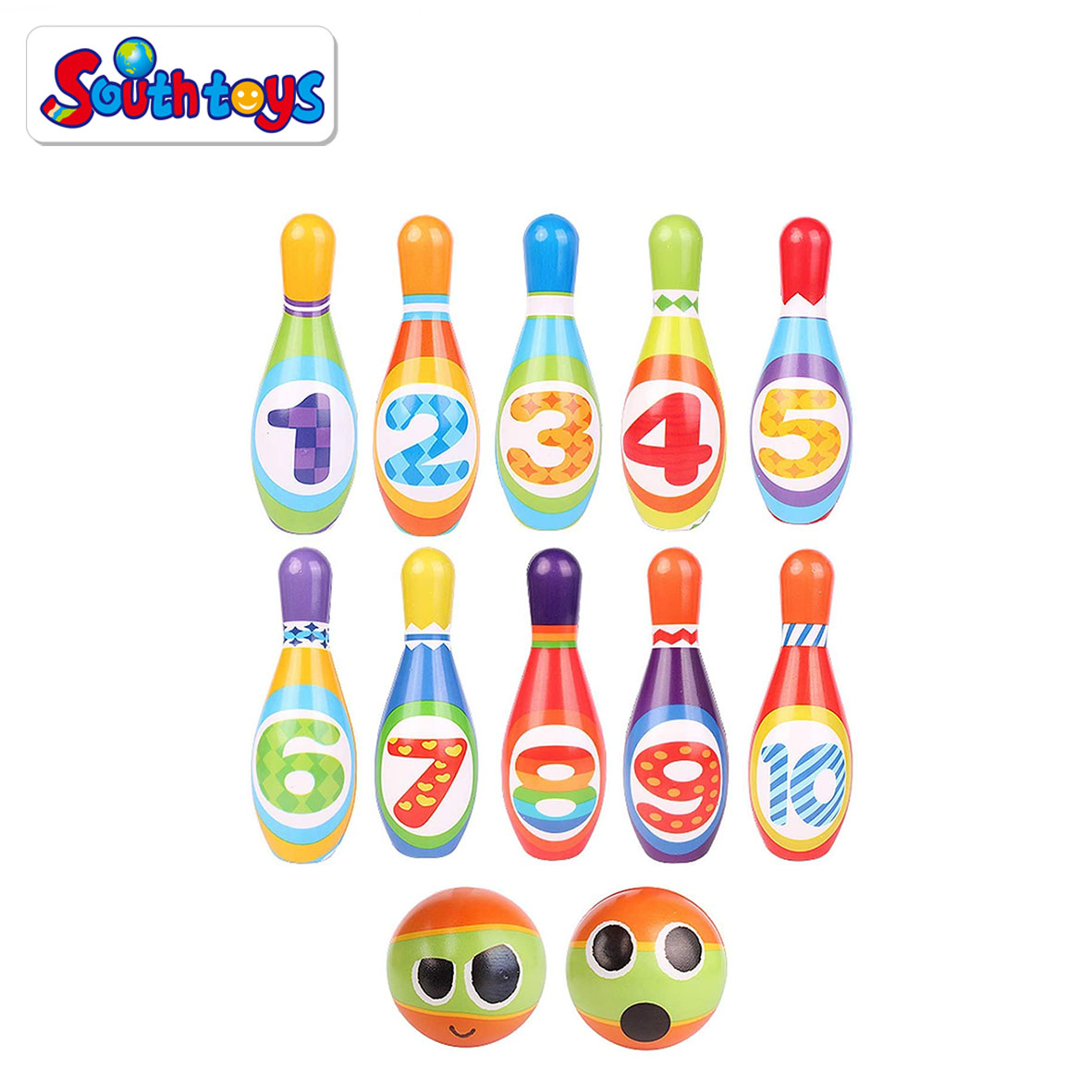 Toddlers Educational Toys 10 Indoor Colorful Soft Foam Pins 2 Bowling Balls Kids Bowling Set