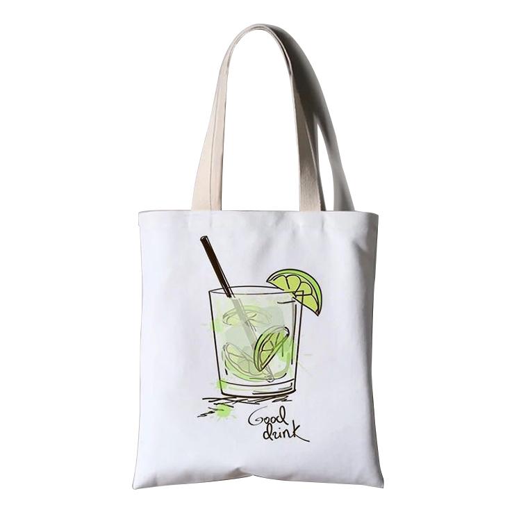 2020 Nuovo disegno di stampa di marchio su misura di alta qualità del tessuto 8 once tote in tela di cotone tote shopping bag
