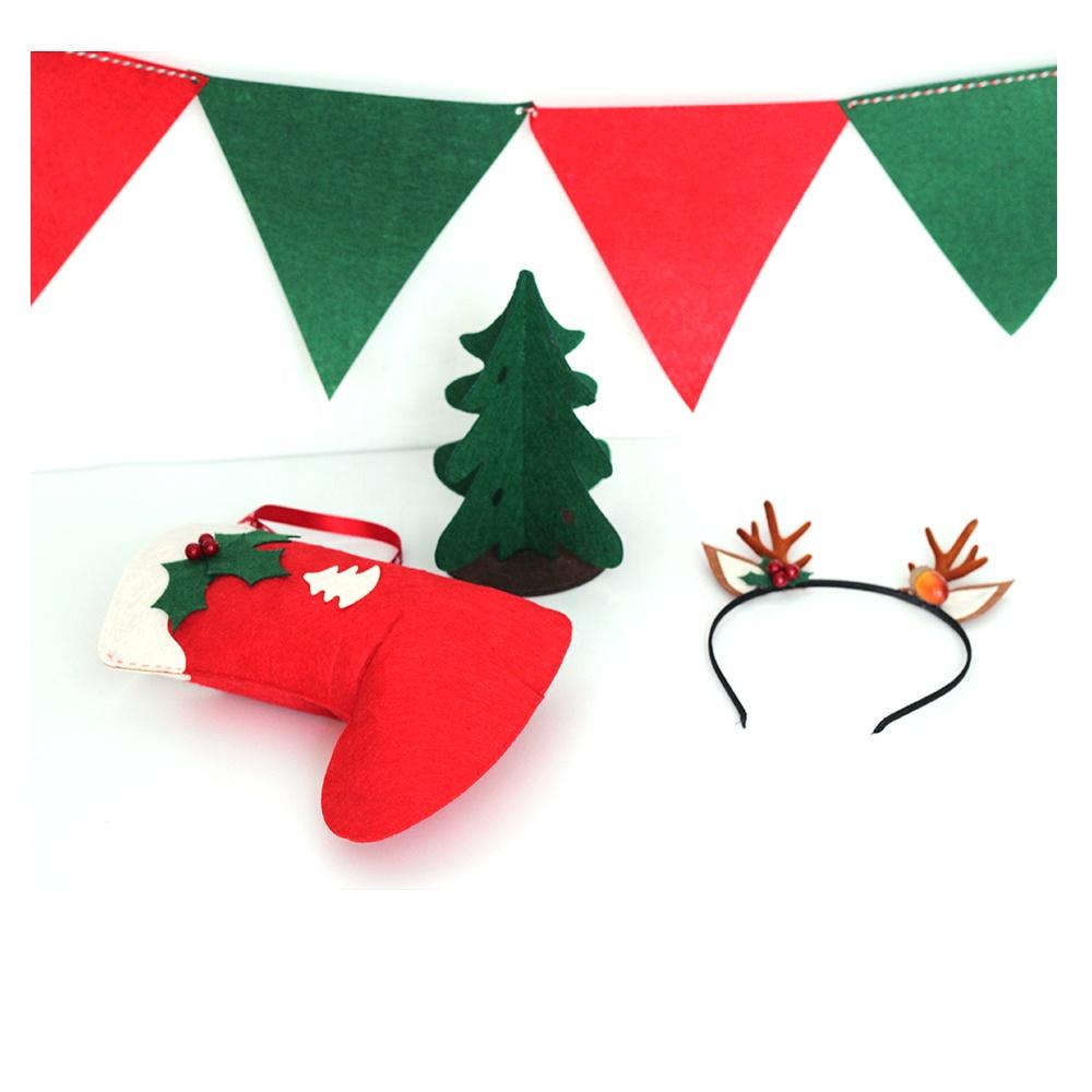 Customized Christmas Tree Xmas Stocking Hairband Pennants Kits Non-woven Fabric Felt Decorations