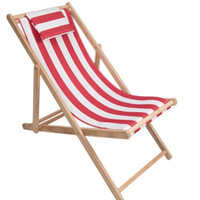 Adjustable height foldable wooden beach chair with pillow