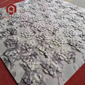 CNC Waterjet Engraved 3d Marble Stone Wall Tiles for Bathroom Interior Design