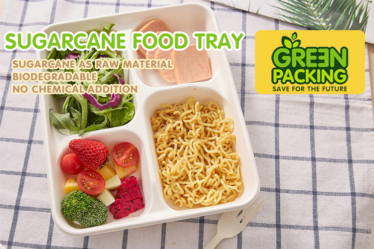 Compostable biodegradable custom order sugarcane 5 compartment meal lunch tray