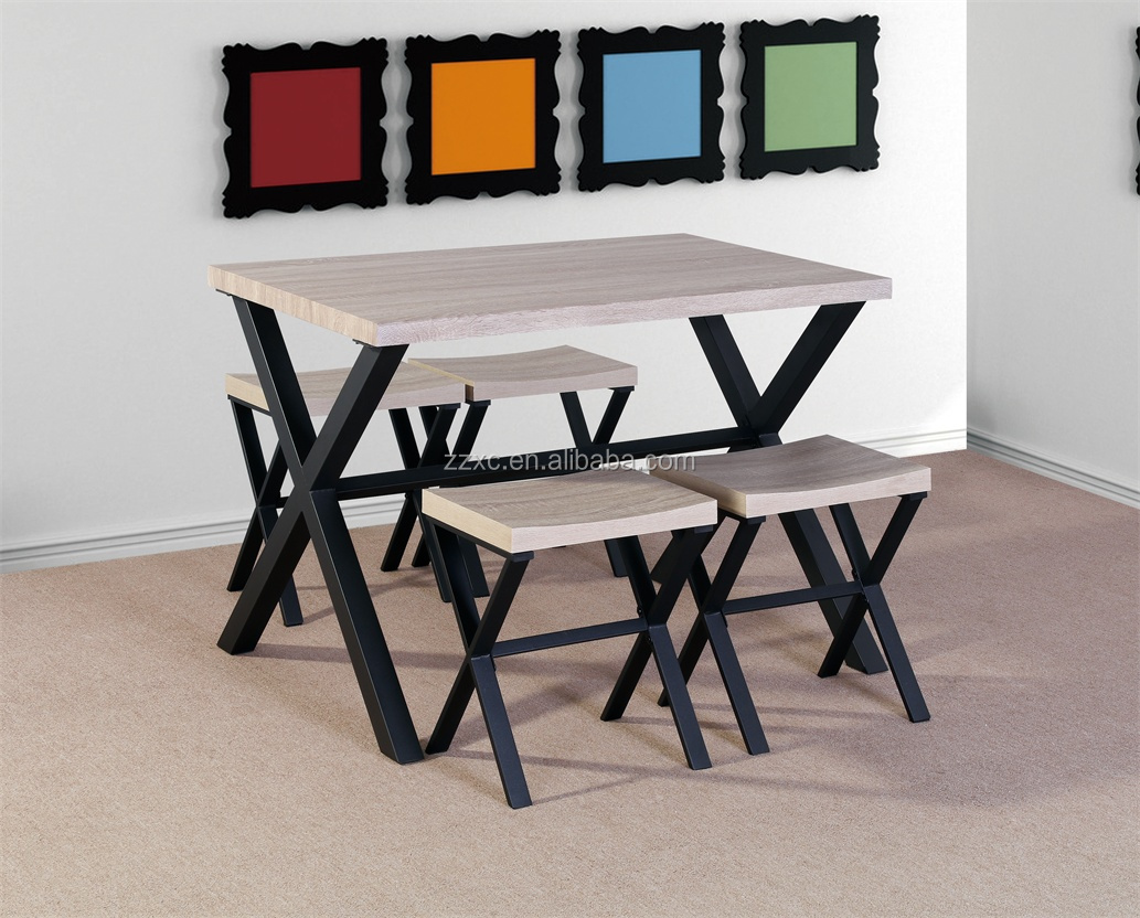 5 Piece Industrial Space Saving Dining Table Set with 4 Stools
