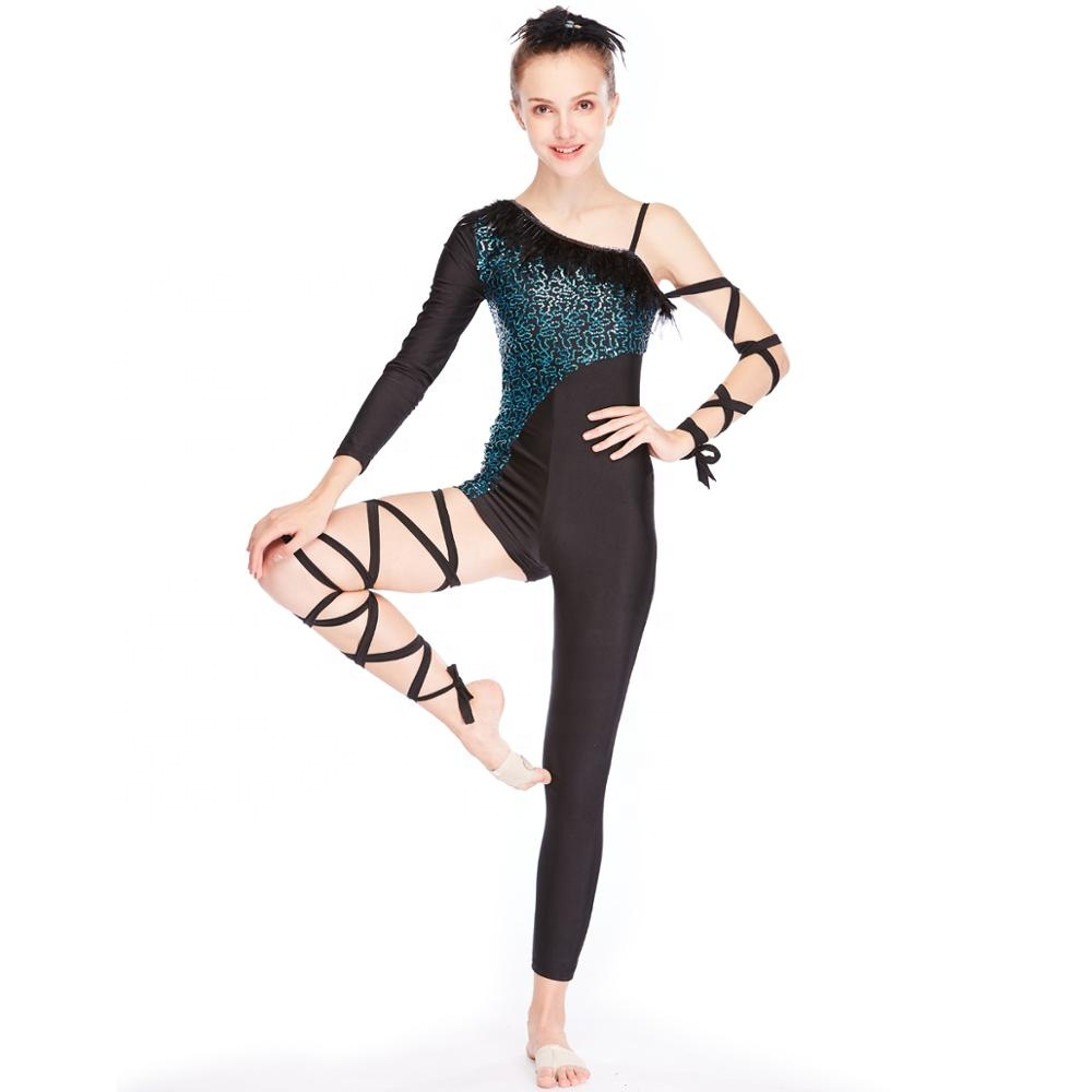 MiDee Acro Costume Gymastic Performance Tenues Plume Décolleté Body Rock Hip-Hop Justaucorps