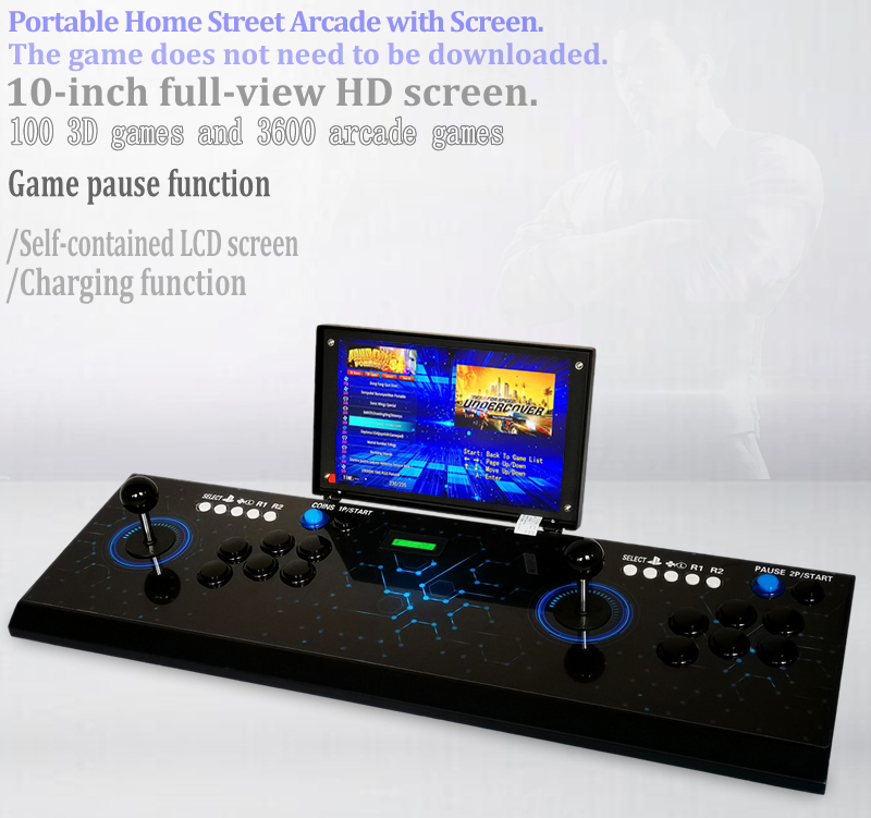 Pandora s game box 3D arcade game rocker 10-inch screen rechargeable game console 3700 in 1