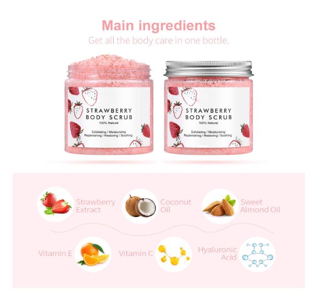 Private label organic dead sea salt Sweet Strawberry Exfoliating Body Scrub Moisturizing with Coconut Oil Scrubs