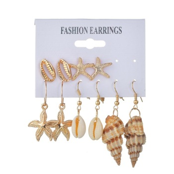 Bohemian Conch Shell Drop Earrings Set For Women Pearl Starfish Scallops Set Jewelry Earrings
