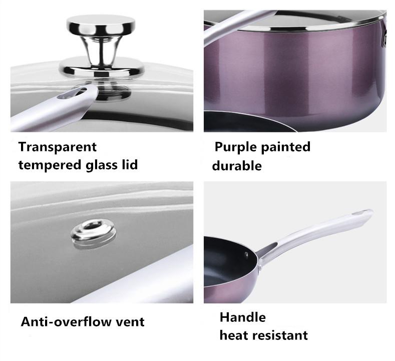 cheap home kitchenware ceramic non stick aluminum alloy cooking pot cookware set