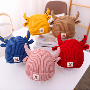 Winter Cute Girls Boys Kids Cartoon Animal Beanies Knitted Hat Baby Warm Hat with Horn