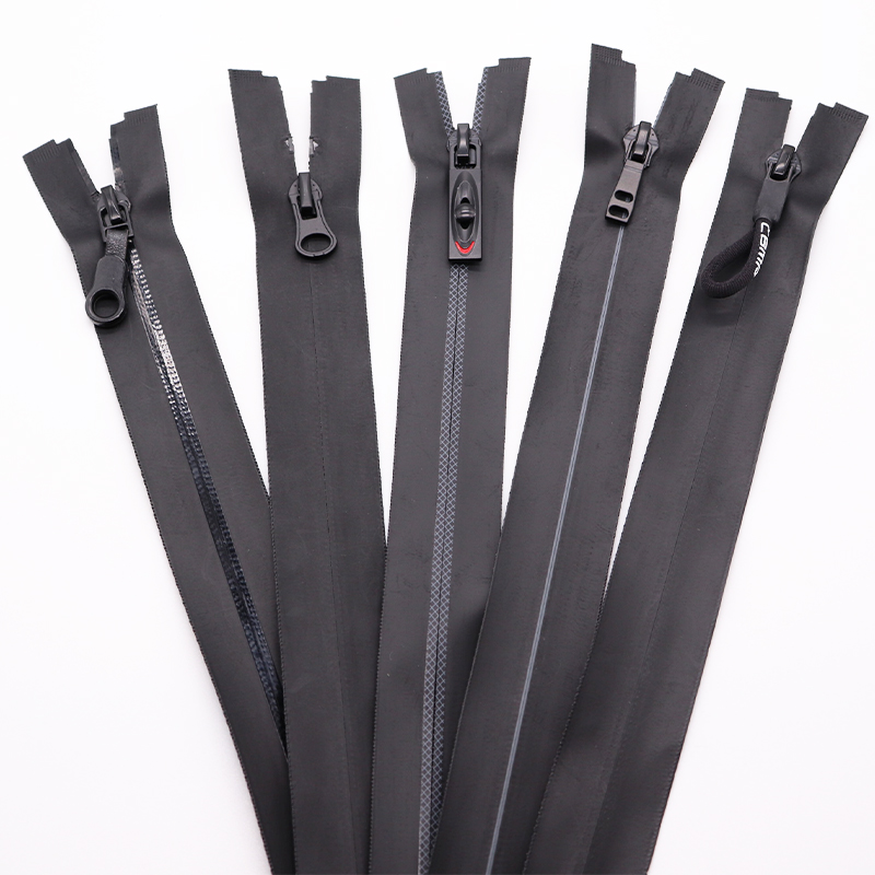 3#5# TPU printed zippers with logo waterproof nylon pvc airtight black zipper for outdoor wear and clothes