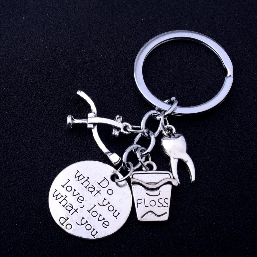 Anahtarlıklar hediyeler berber, diş hekimi, öğretmen, terzi, şef, bahçıvan İş meslek anahtarlıklar Charm takı kadın erkek anahtar zincirleri