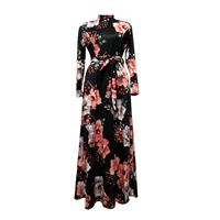2019 Hot Selling Oem Fashionable dress Spring Summer Sexy Printed Floral Long Sleeve Cotton High Quality Women Maxi Dresses