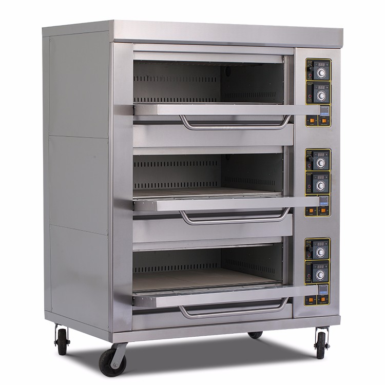 Commerciële apparatuur 3 layer 6 lade gas brood oven bakkerij machines
