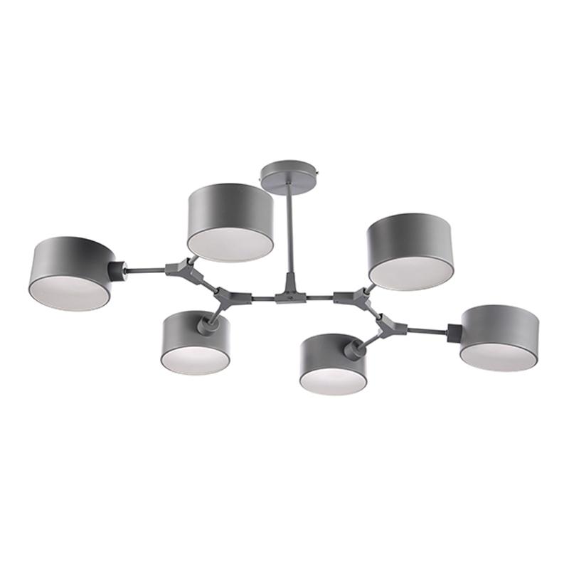 Лучшая Продажа Железный алюминиевый сплав акриловый материал 6 лампа голова потолочный светильник
