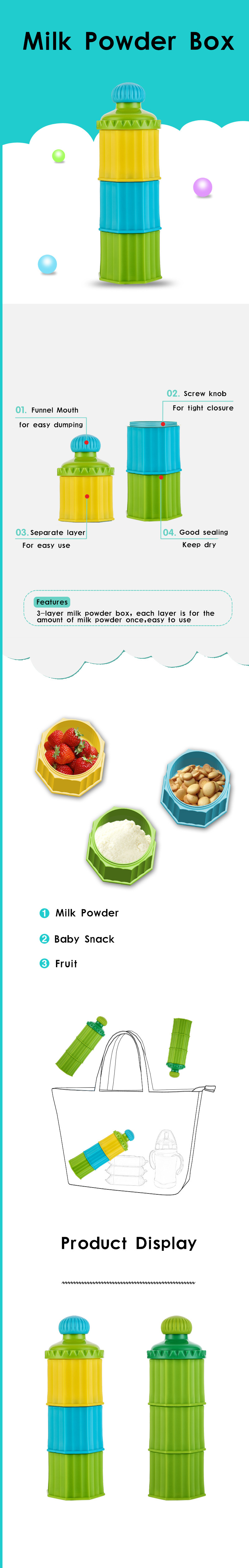 3 Layers Milk powder box Minitree Factory Portable baby infant food feeding container  Storage Eco-friendly BPA free