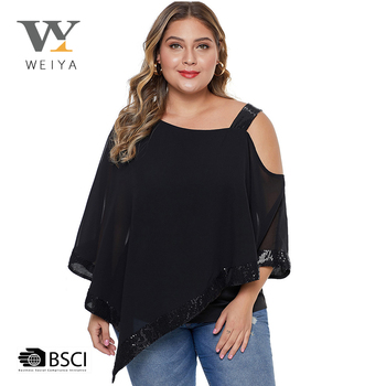 MOQ 2pcs black plus size blouse designs fat ladies for wholesale