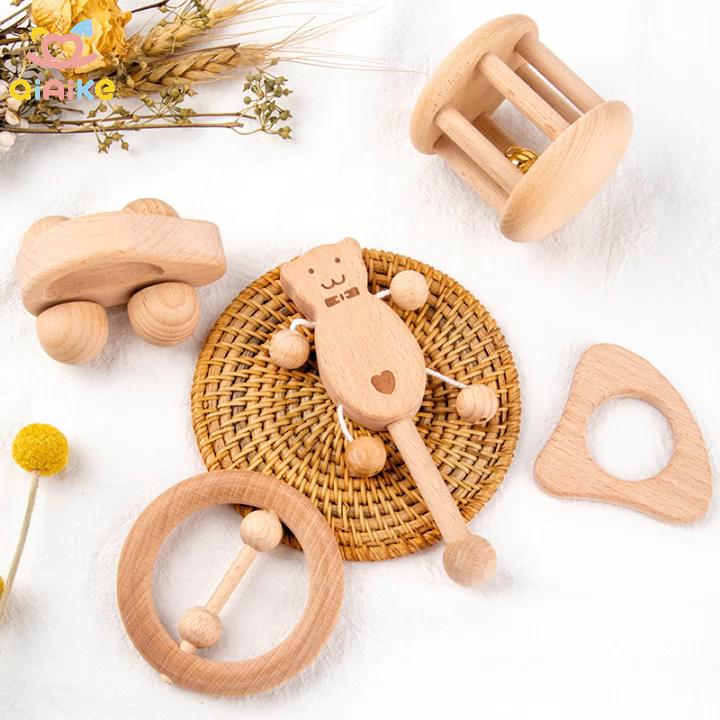 Newborn Wooden Teether set Wood Baby Toys