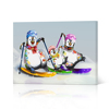 Canvas Wall Art Skiing Penguin Family Funny Animal Painting Snow Mountain Background Canvas Prints Gallery Wrap