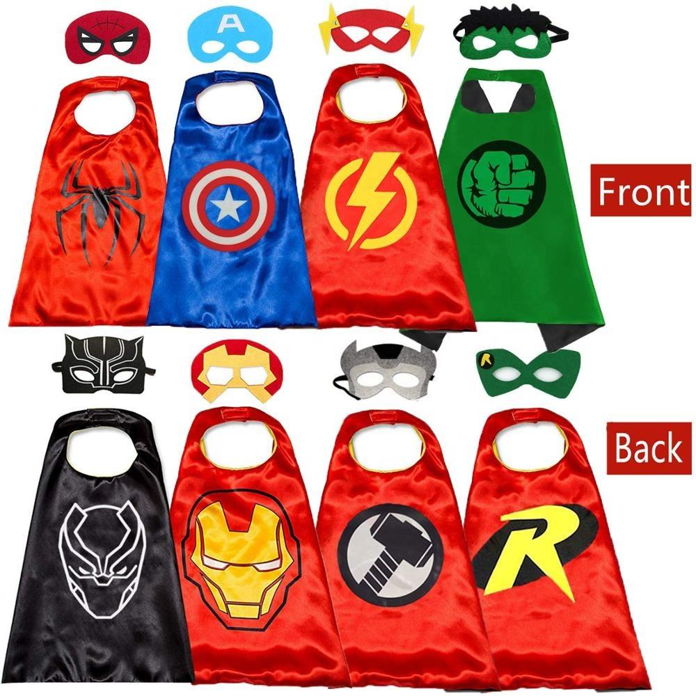 卸売カスタム新しい子供お気に入りスーパーヒーローコスプレ子供ヒーローケープマントセット衣装誕生日パーティー