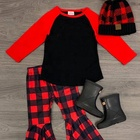latest FALL/WINTER girls cotton sets Baby Children Long Sleeve top buffalo red plaid pants Baby wholesale Outfits