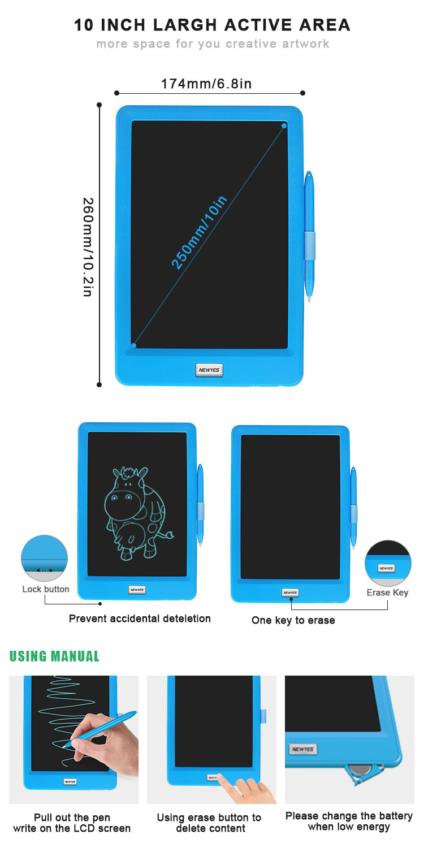 Newyes 10 Inch Digital Handwriting Lcd Writing Tableta Graphic Drawing Tablet