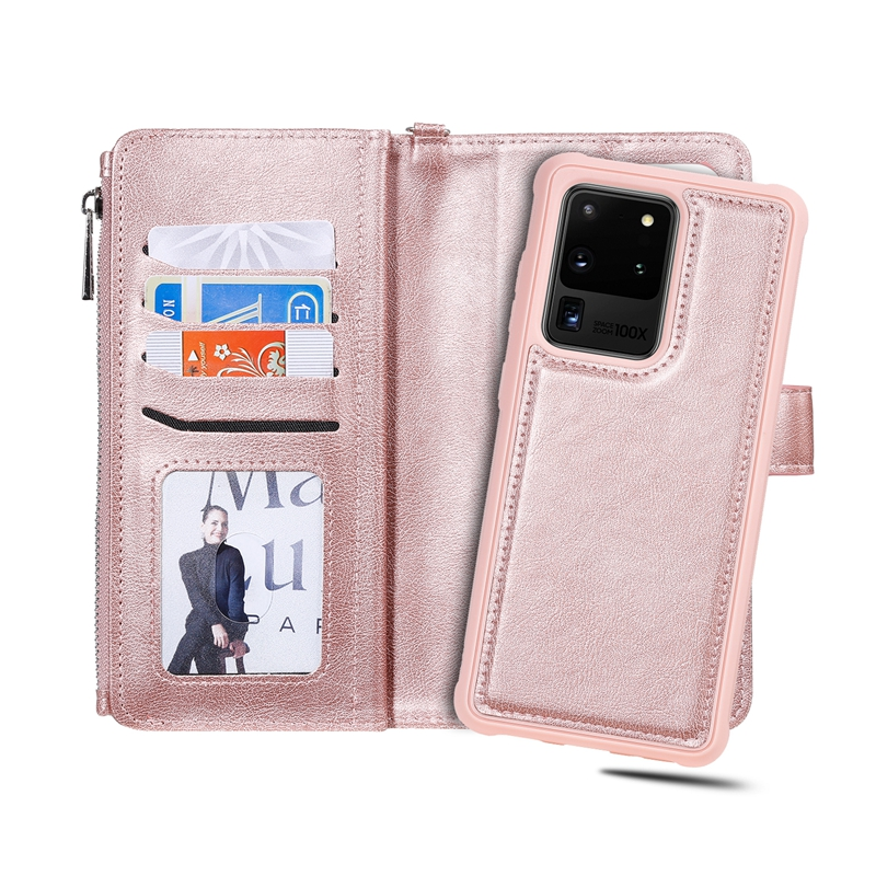 Solid Color 2 in 1 Wrist Strap Style Side Flip Anti-Drop PU Leather + Detachable Strong Magnetic TPU Card Slots Picture Frame wi
