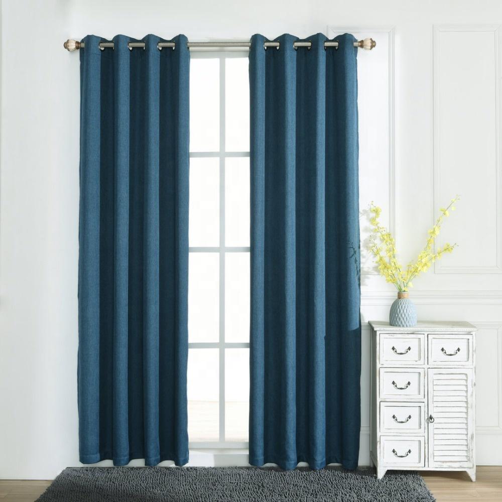 Джинсовые синие простые льняные текстурированные затемненные занавески на заказ с ушками